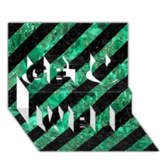 Stripes3 Black Marble & Green Marble Get Well 3d Greeting Card (7x5)