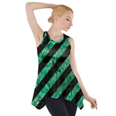 Stripes3 Black Marble & Green Marble Side Drop Tank Tunic
