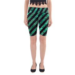 Stripes3 Black Marble & Green Marble Yoga Cropped Leggings