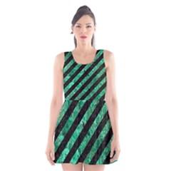 Stripes3 Black Marble & Green Marble Scoop Neck Skater Dress