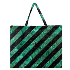 Stripes3 Black Marble & Green Marble Zipper Large Tote Bag