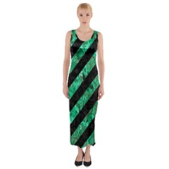 Stripes3 Black Marble & Green Marble Fitted Maxi Dress