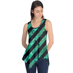 Stripes3 Black Marble & Green Marble Sleeveless Tunic