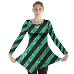 Stripes3 Black Marble & Green Marble Long Sleeve Tunic