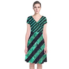 Stripes3 Black Marble & Green Marble Short Sleeve Front Wrap Dress