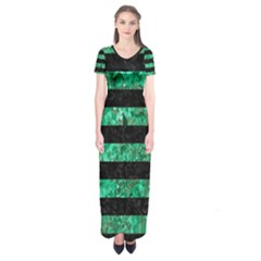 Stripes2 Black Marble & Green Marble Short Sleeve Maxi Dress