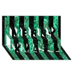 STR1 BK-GR MARBLE Merry Xmas 3D Greeting Card (8x4)
