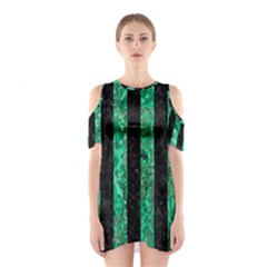 Stripes1 Black Marble & Green Marble Shoulder Cutout One Piece
