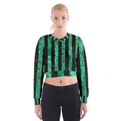 STR1 BK-GR MARBLE Women s Cropped Sweatshirt
