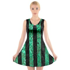 STR1 BK-GR MARBLE V-Neck Sleeveless Skater Dress
