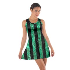 Stripes1 Black Marble & Green Marble Cotton Racerback Dress
