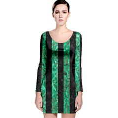 STR1 BK-GR MARBLE Long Sleeve Velvet Bodycon Dress