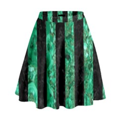 Stripes1 Black Marble & Green Marble High Waist Skirt