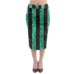 Stripes1 Black Marble & Green Marble Midi Pencil Skirt