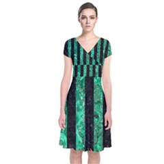 Stripes1 Black Marble & Green Marble Short Sleeve Front Wrap Dress