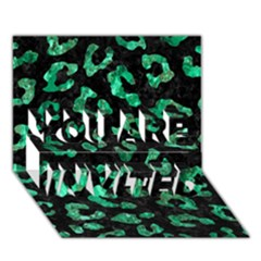 Skin5 Black Marble & Green Marble (r) You Are Invited 3d Greeting Card (7x5)