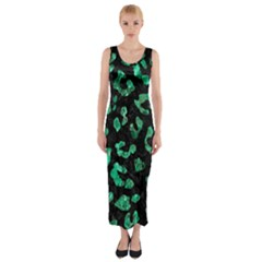 Skin5 Black Marble & Green Marble (r) Fitted Maxi Dress