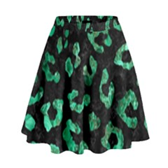 Skin5 Black Marble & Green Marble (r) High Waist Skirt