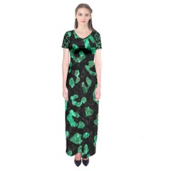 Skin5 Black Marble & Green Marble (r) Short Sleeve Maxi Dress