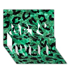 Skin5 Black Marble & Green Marble Get Well 3d Greeting Card (7x5)