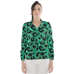 Skin5 Black Marble & Green Marble Wind Breaker (women)