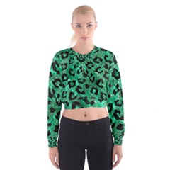 Skin5 Black Marble & Green Marble Cropped Sweatshirt