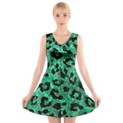 SKN5 BK-GR MARBLE V-Neck Sleeveless Skater Dress