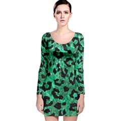 SKN5 BK-GR MARBLE Long Sleeve Velvet Bodycon Dress