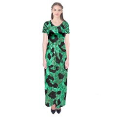 Skin5 Black Marble & Green Marble Short Sleeve Maxi Dress