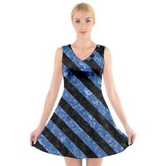 Stripes3 Black Marble & Blue Marble (r) V Neck Sleeveless Dress
