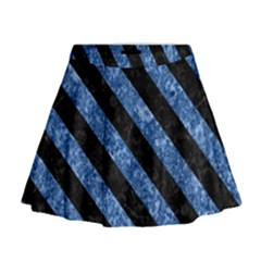 Stripes3 Black Marble & Blue Marble (r) Mini Flare Skirt