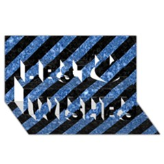 Stripes3 Black Marble & Blue Marble Best Wish 3d Greeting Card (8x4)