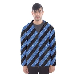 Stripes3 Black Marble & Blue Marble Hooded Wind Breaker (men)