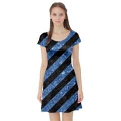 STR3 BK-BL MARBLE Short Sleeve Skater Dress