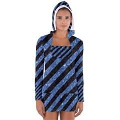 STR3 BK-BL MARBLE Women s Long Sleeve Hooded T-shirt