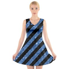 Stripes3 Black Marble & Blue Marble V Neck Sleeveless Dress