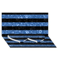 Stripes2 Black Marble & Blue Marble Twin Heart Bottom 3d Greeting Card (8x4)