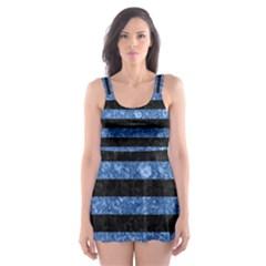 Stripes2 Black Marble & Blue Marble Skater Dress Swimsuit