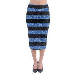 Stripes2 Black Marble & Blue Marble Midi Pencil Skirt