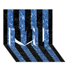 Stripes1 Black Marble & Blue Marble I Love You 3d Greeting Card (7x5)
