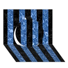 Stripes1 Black Marble & Blue Marble Circle 3d Greeting Card (7x5)
