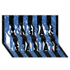Stripes1 Black Marble & Blue Marble Congrats Graduate 3d Greeting Card (8x4)