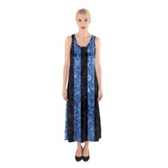 Stripes1 Black Marble & Blue Marble Sleeveless Maxi Dress