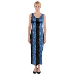 Stripes1 Black Marble & Blue Marble Fitted Maxi Dress