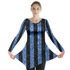Stripes1 Black Marble & Blue Marble Long Sleeve Tunic