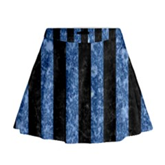 Stripes1 Black Marble & Blue Marble Mini Flare Skirt