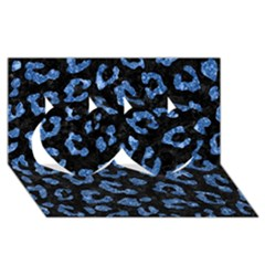 Skin5 Black Marble & Blue Marble (r) Twin Hearts 3d Greeting Card (8x4)