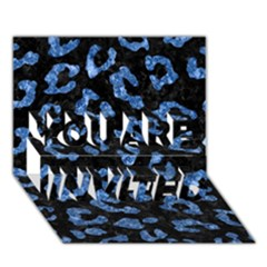 Skin5 Black Marble & Blue Marble (r) You Are Invited 3d Greeting Card (7x5)