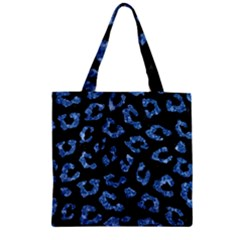 Skin5 Black Marble & Blue Marble (r) Zipper Grocery Tote Bag