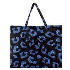 Skin5 Black Marble & Blue Marble (r) Zipper Large Tote Bag
